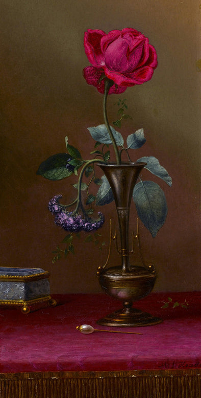 Martin Johnson Heade - Red Rose and Heliotrope in a Vase