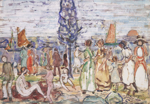 Maurice Brazil Prendergast - Beach with Blue Tree