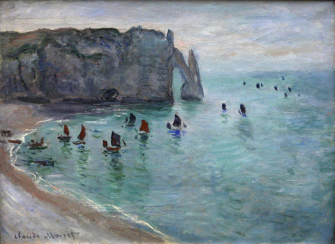Monet - Etretat the Aval door fishing boats leaving the harbour
