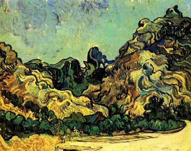 Vincent van Gogh - Mountains at Saint Remy with Dark Cottage