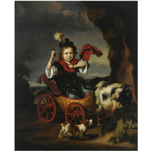 Nicolaes Maes - A Young Boy in Classical Dress in a Goat, Drawn Chariot, Together with a Dog in a Landscape