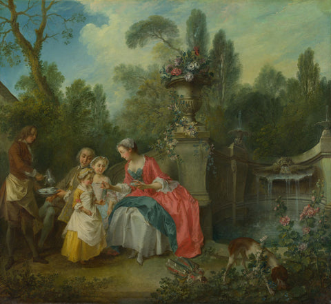 Nicolas Lancret - A Lady in a Garden taking Coffee with some Children