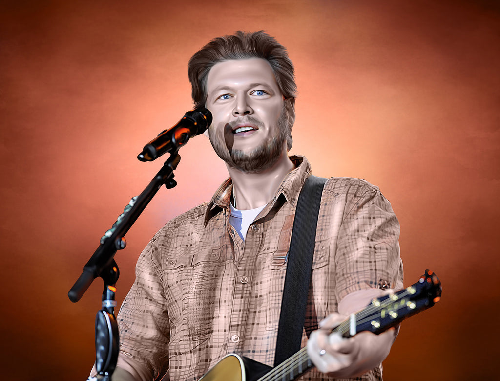 Blake Shelton Digital Painting - Get Custom Art