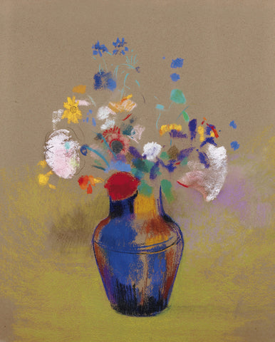 Odilon Redon - Flowers on a grey background