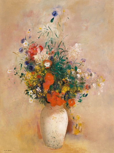 Odilon Redon - Vase of Flowers (Pink Background)