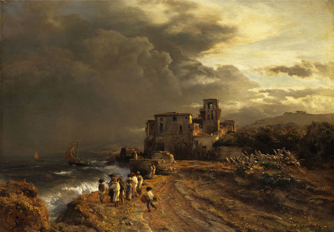 Oswald Achenbach - Retreating Storm on the Italian Coast