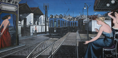 Paul Delvaux - Le Train Bleu or La Rue Aux Tramways