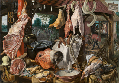 Pieter Aertsen - A Meat Stall with the Holy Family Giving Alms