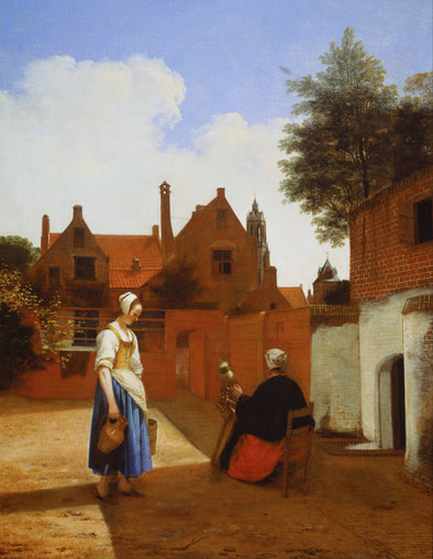 Pieter de Hooch - Courtyard in Delft at Evening a Woman Spinning