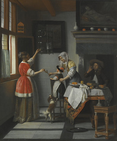 Pieter de Hooch - Interior with a Child Feeding a Parrot