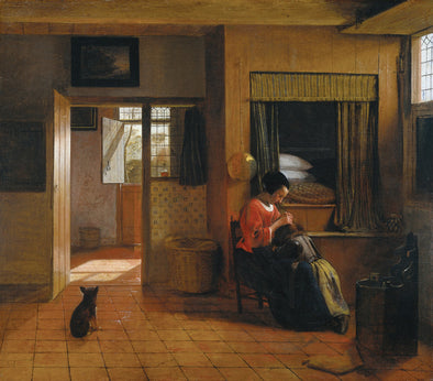 Pieter de Hooch - Interior with a Mother Delousing her Child