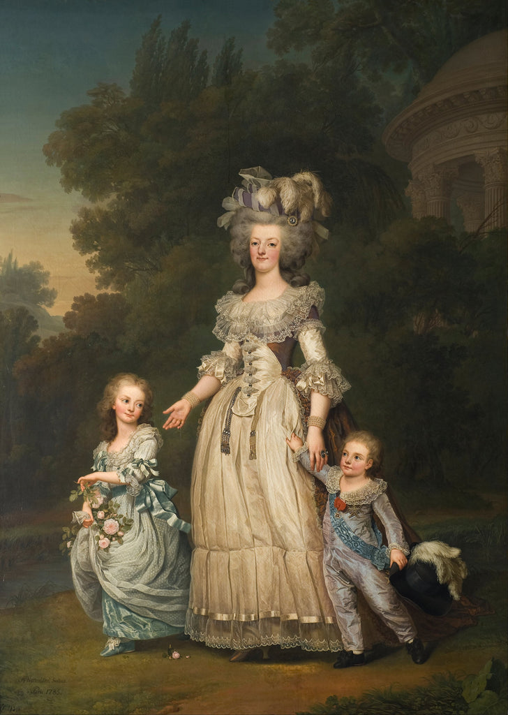 Adolf Ulrik Wertmuller - Queen Marie Antoinette of France and two of her Children Walking in The Park of Trianon