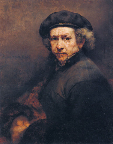 Rembrandt  - Self Portrait with Beret and Turned Up Collar