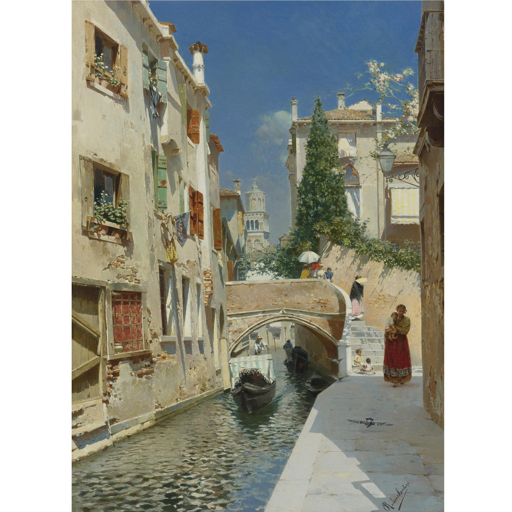 Rubens Santoro - Venetian Canal with the Campanile of the Frari in the Distance