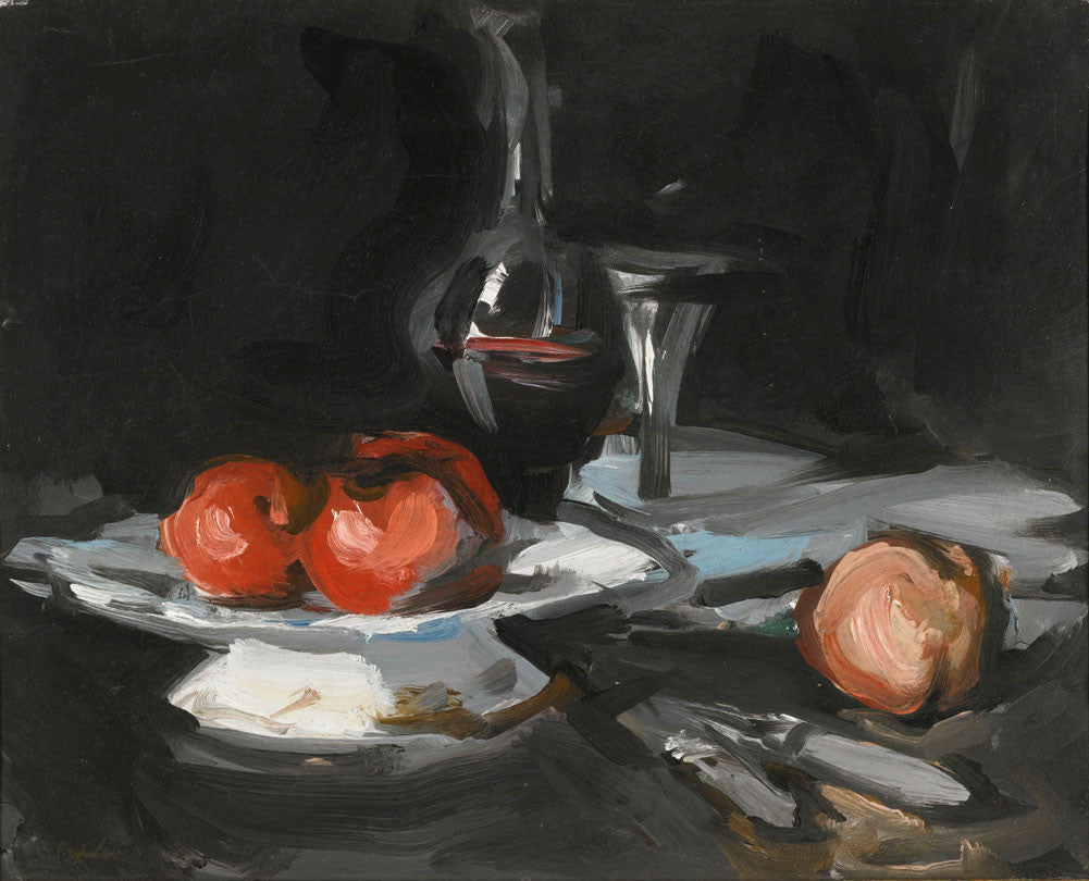 Samuel John Peploe - Still Life With Wine Decanter, Glass And Apples