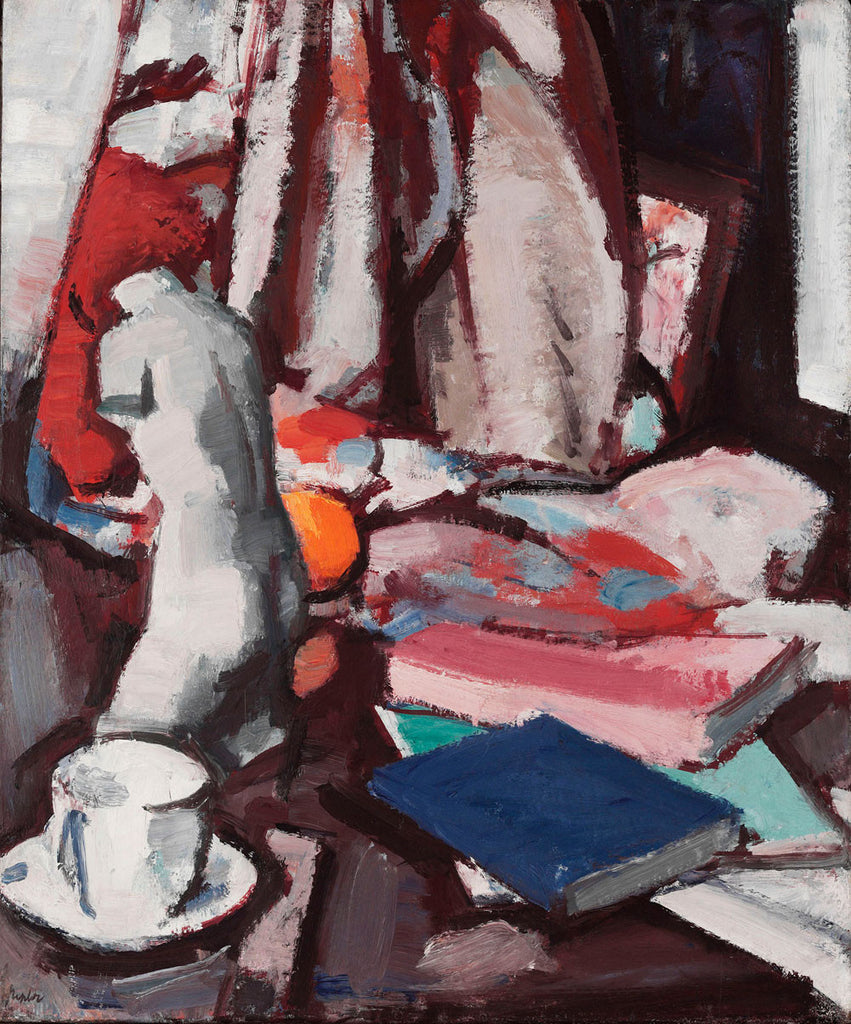 Samuel John Peploe - Still Life with Statuette and Books