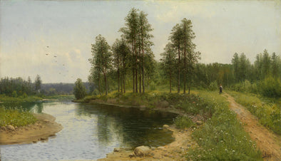 Simeon Fedorovich Fedorov - River Landscape with a Figure