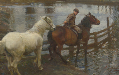 Sir Alfred James Munnings - Crossing the Ford