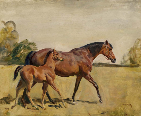 Sir Alfred James Munnings - Lord Astor's Broodmare And Foal
