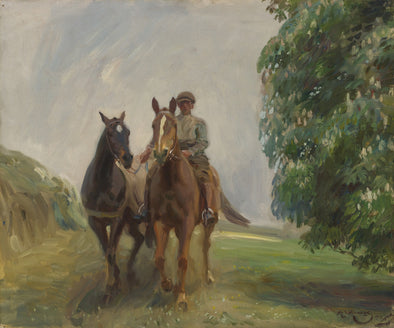 Sir Alfred James Munnings - Shrimp leading two Hunters