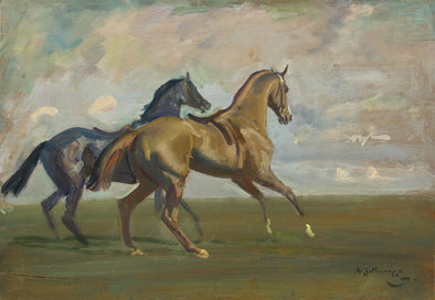 Sir Alfred James Munnings - Two race Horses at the Start
