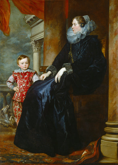 Sir Anthony van Dyck - A Genoese Noblewoman and Her Son