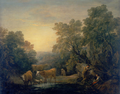 Thomas Gainsborough - Rocky Wooded Landscape with Rustic Lovers, Herdsman and Cows