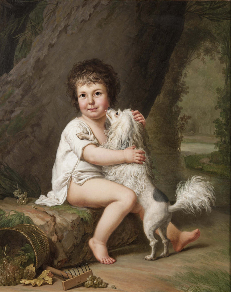 Adolf Ulrik Wertmuller - Two Year Old Henri Bertholet Campan with his dog Aline