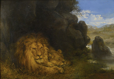 Wilhelm Kuhnert - Two Lions in a Cave