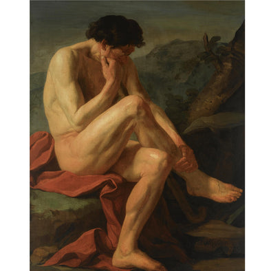 Jean Joseph Taillasson - A Naked Man Sitting in a Landscape