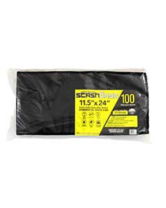 STASH BAGS (11.5x24) (PRE-CUT)(Black/ Clear) Commercial Gra Sealed Bags (100 BAGS)