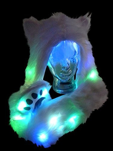 Light Up LED Color Changing Rave Spirit Animal Fluffy Fur Hat Hood