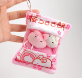 MINI Sakura Rabbit and Pudding Chick Ball Plushies! In Zipper Bag!