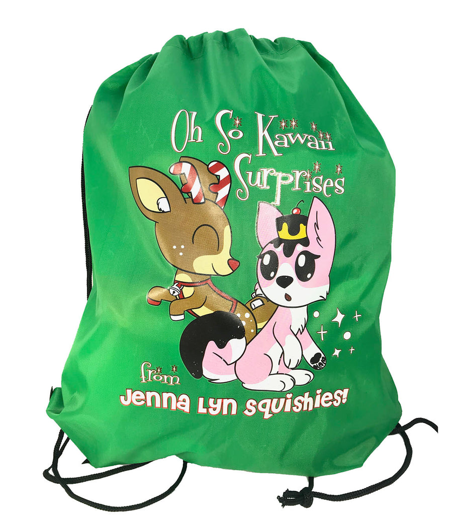 Jenna Lyn EXCLUSIVE Draw String Backpack with PEPPERMINT COCOA the Deer! CHRISTMAS!