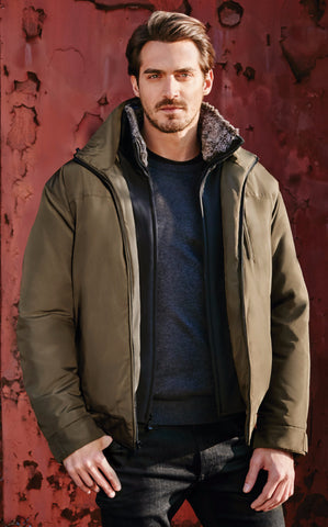 Men's Rugged Oxford Everest Bomber, with Removable Hood