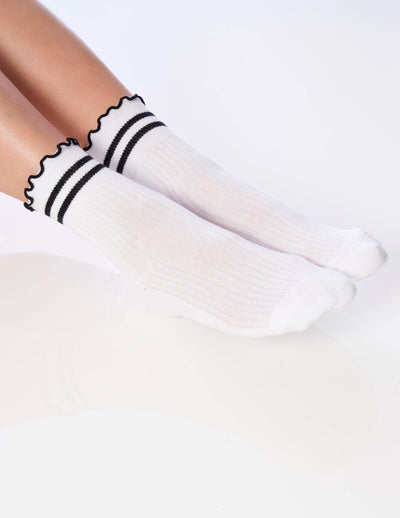 The Ruffle Sock White - Lucky Honey