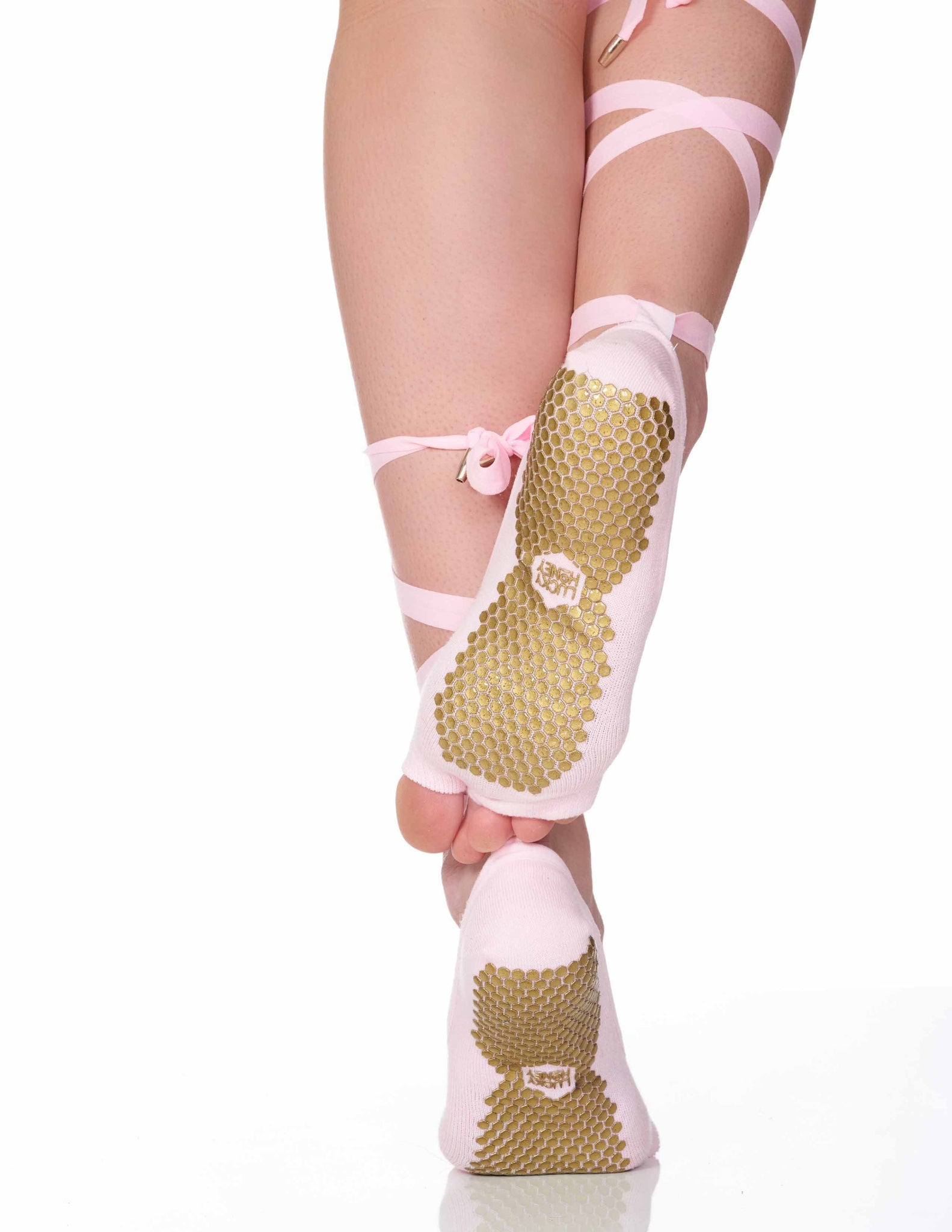 The Toeless Sock Pink, Grip Socks Lucky Honey Grip Socks