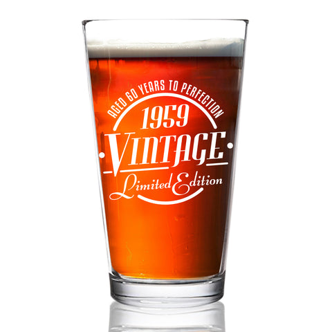 1959 Vintage Edition 60th Birthday Beer Glass for Men and Women (60th Anniversary) 16 oz- Elegant Happy Birthday Pint Beer Glasses for Craft Beer | Classic Birthday Gift, Reunion Gift for Him or Her