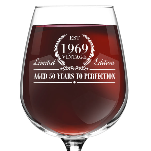 1969 Vintage Edition Birthday Wine Glass for Men and Women (50th Anniversary) 12 oz, Elegant Happy Birthday Wine Glasses for Red or White Wine | Classic Birthday Gift, Reunion Gift for Him or Her