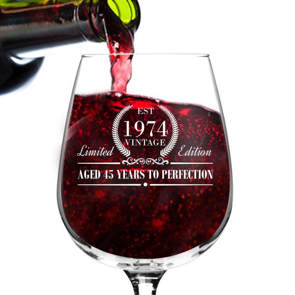 1974 Vintage Edition Birthday Wine Glass for Men and Women (45th Anniversary) 12 oz, Elegant Happy Birthday Wine Glasses for Red or White Wine | Classic Birthday Gift, Reunion Gift for Him or Her