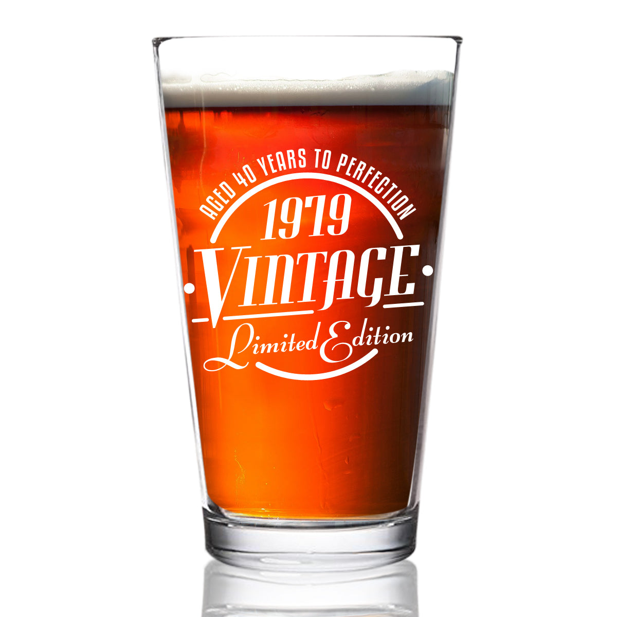 1979 Vintage Edition 40th Birthday Beer Glass for Men and Women (40th Anniversary) 16 oz- Elegant Happy Birthday Pint Beer Glasses for Craft Beer | Classic Birthday Gift, Reunion Gift for Him or Her