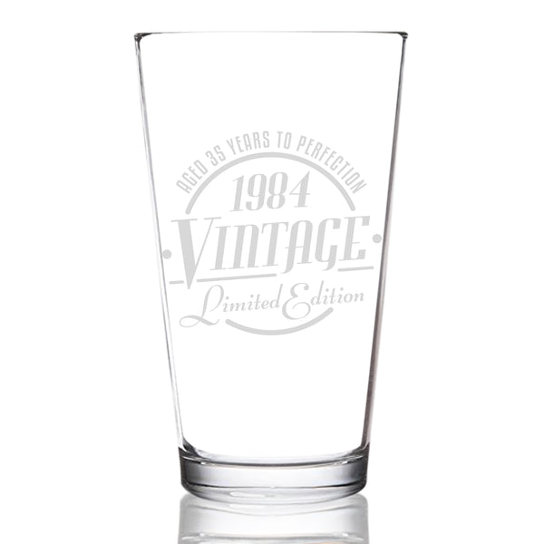 1984 Vintage Edition 35th Birthday Beer Glass for Men and Women (35th Anniversary) 16 oz- Elegant Happy Birthday Pint Beer Glasses for Craft Beer | Classic Birthday Gift, Reunion Gift for Him or Her