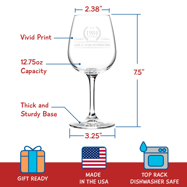 1984 Vintage Edition Birthday Wine Glass for Men and Women (35th Anniversary) 12 oz, Elegant Happy Birthday Wine Glasses for Red or White Wine | Classic Birthday Gift, Reunion Gift for Him or Her