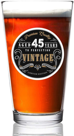 1976 Vintage Edition 45th Birthday Beer Glass for Men and Women (45th Anniversary) 16 oz- Happy Birthday Pint Beer Glasses for 45 Year Old | Classic Birthday Gift, Reunion Gift for Dad, Him or Her