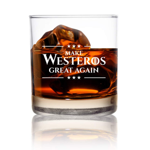 Make Westeros Great Again Tumbler Whiskey Scotch Glass- 11 oz- Funny GOT Lowball Rocks Glass - Present for Dad, Men, Friends, Him- Made in USA- Old Fashioned Whiskey Inspired by Game of Thrones