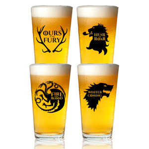 Game of Thrones Inspired Beer Glasses Set of 4 (1.5 oz)- Royal House of Westeros Sigils Stark, Bratheon, Lannister, Targaryen- Gift for Dad, Men, Friends, Him or GOT Fan- Made in USA- Fun Watch Party