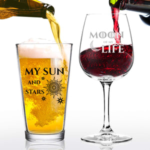 Moon of My Life My Sun and Stars Wine and Beer Glass Set for GOT Fan Couples- 12.75 oz Wine Glass & 16 oz Beer Pint Glass- Present for Mom and Dad- Inspired by Game of Thrones- Husband Wife Gift