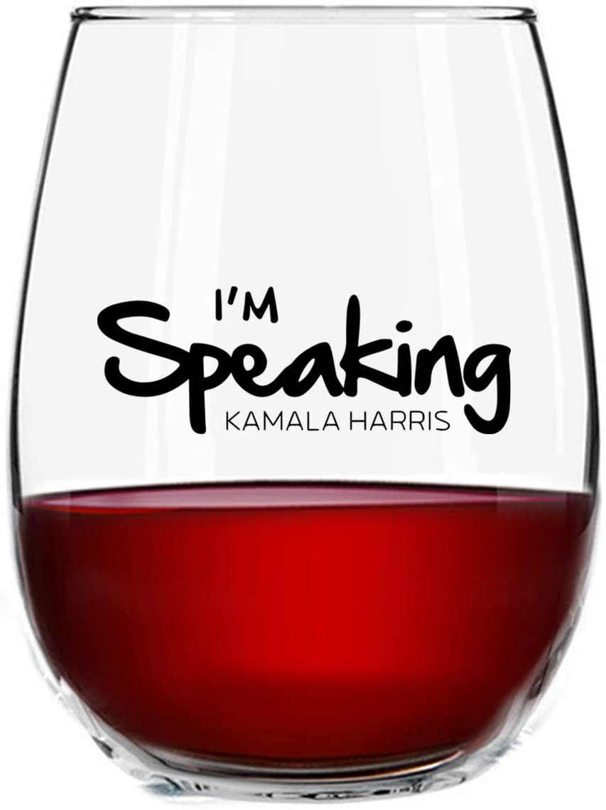 I'm Speaking Kamala Harris 2021 Stemless Wine Glass Gift for Women, 15 oz | Tribute To The First Madam Vice President | Celebrate Progressive Women | Fun, Empowering Feminist Gift for Her | USA Made