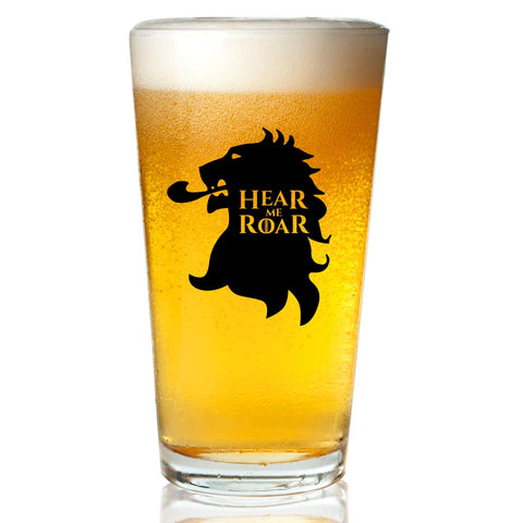 Game of Thrones Inspired Beer Glass (16 oz)- Lannister Royal House of Westeros with Sigil & Motto Hear Me Roar- Gift for Dad, Men, Friends, Him or GOT Fan- Made in USA- Fun Watch Party Supplies