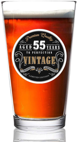 1966 Vintage Edition 55th Birthday Beer Glass for Men and Women (55th Anniversary) 16 oz- Happy Birthday Pint Beer Glasses for 55 Year Old | Classic Birthday Gift, Reunion Gift for Dad, Him or Her